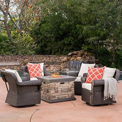 GDF Studio Augusta Patio Furniture ~ 5 Piece Outdoor Wicker Rocking Arm Chair and Propane (Gas)  ...
