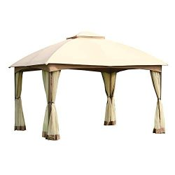 CROWN SHADES 10′ x 12′ Dome Gazebo with Mosquito Netting, Beige