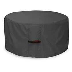 Porch Shield 600D Heavy Duty Patio Round Fire Pit/Table/Bowl Cover 40 inch, 100% Waterproof, Black
