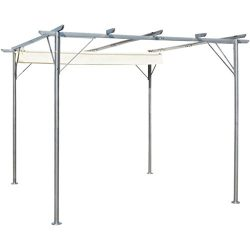 K&A company Pergola with Retractable Roof Cream White Steel 9.8'x9.8′