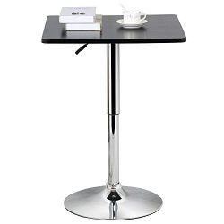 Yaheetech Bar Table Black Square Table Top Swivel Pub Table Counter Height Adjustable 27.6-35.4& ...