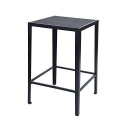 GreenForest Bar Table Modern Square Pub Height Table High Top Wood and Metal Cocktail Bistro Tab ...