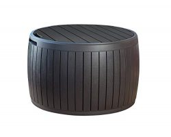 Keter 230897 37 Gallon Circa Natural Wood Style Round Outdoor Storage Table D (Certified Refurbi ...