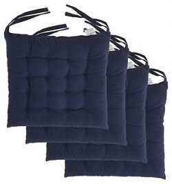 "Cottone 100% Cotton Chair Pads w/Ties (Set of 4) | 16"" x 15"" Square 