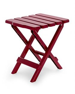 Camco 51684 Red Regular Adirondack Portable Outdoor Folding Side Table, Perfect for The Beach, C ...