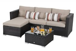 PHI VILLA 3 Piece New Outdoor Furniture Sectional Sofa Patio Set with Upgrade Rattan Wicker, Beige