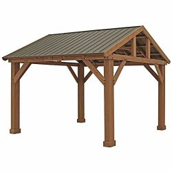 Pre-Stained Premium Cedar Wood & Aluminum 14′ x 12′ Outdoor Pavilion Gazebo