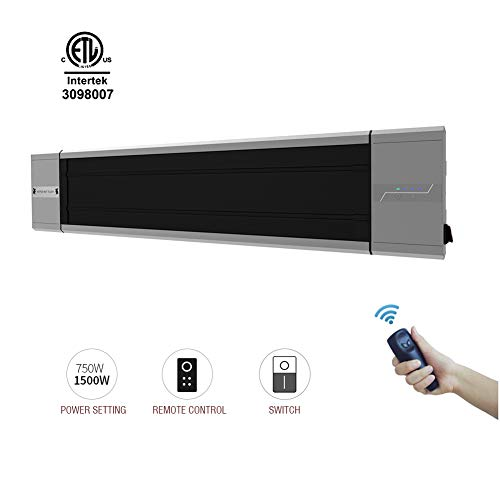 Skypatio Wall Mounted Electric Patio Heater With Remote Control Ip55 For Outdoor Indoor Instant Heat Infrared Space Heaters Silver Radiant 750w