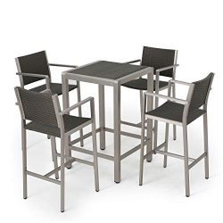 GDF Studio Crested Bay Patio Furniture ~ 5 Piece Outdoor Wicker and Aluminum Bar Set
