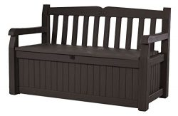 Keter 213126 Eden 70 Gallon All Weather Outdoor Patio Storage Garden Bench Deck Box, Brown (Cert ...