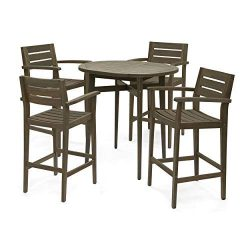 Stanford Bar-Height Table Set | Solid Acacia Wood Frames | Includes 4 Bar Stools | 30″ Sea ...