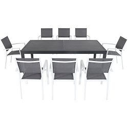 Hanover Naples 9-Piece Outdoor Patio Dining Set with 8 Dining Chairs and Aluminum Slat Expandabl ...