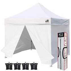Eurmax 10 x 10 Pop up Canopy Commercial Tent Outdoor Party Shelter with 4 Zippered Sidewalls and ...