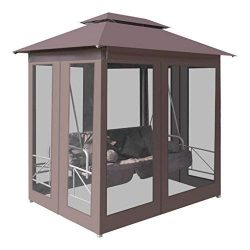 BLXCOMUS Outdoor Garden Gazebo Porch Swing Chair Coffee Patio 2-Person Swing Sun Bed with 4 Pill ...