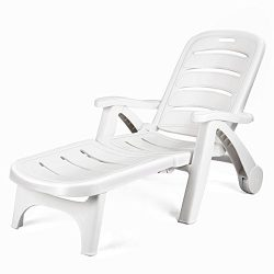 Giantex Folding Lounger Chaise Chair on Wheels Outdoor Patio Deck Chair Adjustable Rolling Loung ...