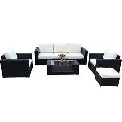 Do4U 7pcs Outdoor Patio Garden Rattan Wicker Sofa Set Sectional Furniture Set (Expresso-9002)