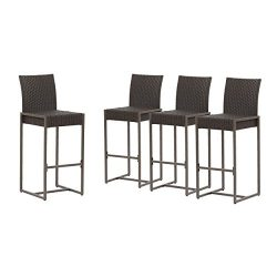 Great Deal Furniture Kelly Outdoor Wicker 30 Inch Barstool (Set of 4), Dark Brown