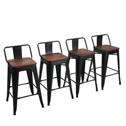 Yongchuang Metal Counter Bar Stool for Indoor-Outdoor(Pack of 4) (26″, Matte Black Wood To ...