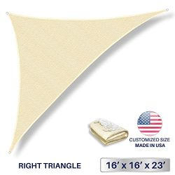 Windscreen4less 16′ x 16′ x 22.6′ Triangle Sun Shade Sail – Beige with W ...