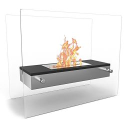 Regal Flame Vista Fire Pit Tabletop Portable Bio Ethanol Fireplace in Black