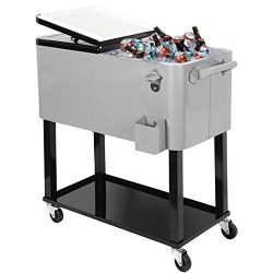 Clevr 80 Quart Qt Outdoor Patio Cooler Rolling Cooler Ice Chest Tub, Grey, Portable Patio Party  ...