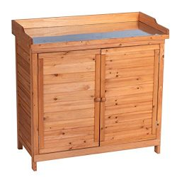 GOOD LIFE Outdoor Garden Patio Wooden Storage Cabinet Furniture Waterproof Tool Shed with Pottin ...