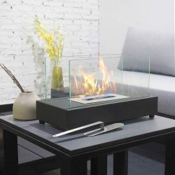 ART TO REAL Upgrades Rectangle Tabletop Bio Ethanol Fireplace Indoor Outdoor Fire Pit Portable F ...