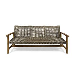 Great Deal Furniture Marcia Outdoor Wood and Wicker Sofa, Natural Finish with Gray Wicker