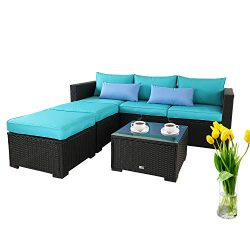 Outdoor Sectional Sofa Set 4-Piece Patio PE Black Wicker Rattan Conversation Furniture with Turq ...