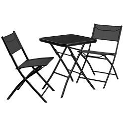 "Flash Furniture 23.75"" Square Tempered Glass Metal Outdoor Table Set with 2 Textilene Fabr ..."