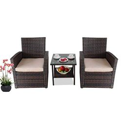 LEAPTIME Patio Bistro Set Outside Rattan Sofa Conversation Furniture Deck Seating 2 pcs Chairs 1 ...