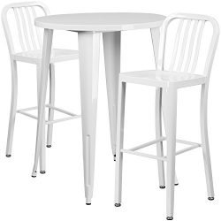"Flash Furniture 30"" Round White Metal Indoor-Outdoor Bar Table Set with 2 Vertical Slat Ba ..."