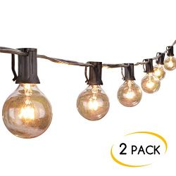 2-Pack 25Ft Outdoor Patio String Lights with 25 Clear Globe G40 Bulbs, UL Certified for Porch Ba ...