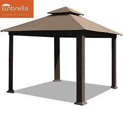 EliteShade 12×12 feet Sunbrella Titan Patio Outdoor Garden Backyard Gazebo (Sunbrella Cocoa)