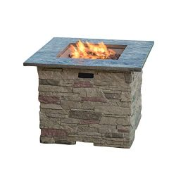 Great Deal Furniture Rogers Outdoor Square Stone Fire Pit Table, 32-Inch Propane Gas Patio Heate ...