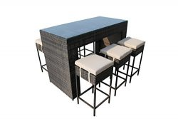 Mountain River Home Decor 7-Piece Mixed Brown Wicker Rattan Bar Set with Cushions, No Assembly R ...