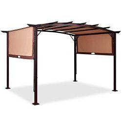 Tangkula Pergola 12′ x 9′ Gazebo Canopy Outdoor Patio Garden Steel Frame Sun Shelter ...