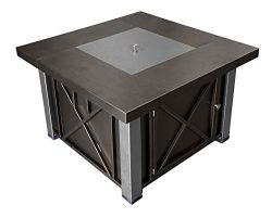 AZ Patio Heaters Fire Pit, Propane in Decorative Bronze and Stainless Silver with Lid