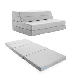 LUCID 4 Inch Folding Mattress and Sofa with Removable Indoor / Outdoor Fabric Cover – Twin ...