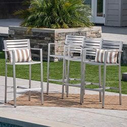 Great Deal Furniture Tammy Coral Outdoor Silver Rust-Proof Aluminum 29.50 Inch Barstools (Set of 4)