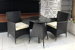 Do4U 3 Pieces Patio Outdoor Wicker Furniture Outdoor Set Bistro Set Backyard Rattan Cushion Seat ...