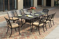 Darlee 201630-9PC-30SLD Cast Aluminum 9 Piece Rectangle Dining Set & Cushions, 42″ by  ...