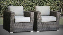 Living Source International Patio Chair, Verona 2 Piece Club Seating Group with Cushion (2 Chair ...