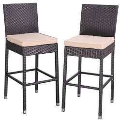 Do4U Set of 2 Patio Bar Stools All-Weather Wicker Outdoor Furniture Chair, Bar Chairs with Brown ...