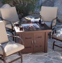 Patio Fire Pit- Premium Outdoor Fire Pit Table Patio Deck Backyard Heater Fireplace Propane LP F ...