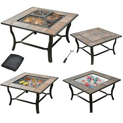 Leisurelife 4 in 1, 32″ Square Tile Top Fire Pit, Grill, Cooler and Coffee Table with Cover