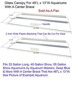 Blue Spotted Glass Canopy Two Piece Set for Aquariums with Center Braces, (Tank with Center Brac ...