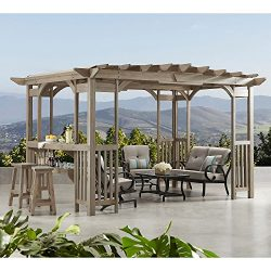 MM Cedar Pergola Gazebo with Bar Counter and Sunshade in Timber Gray Stain 12′ x 8′