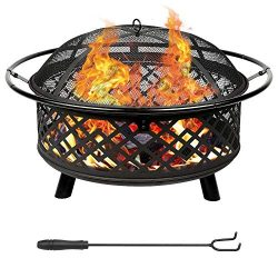 Teancll Fire Pit Kit 36″ Portable Outdoor Fireplace Backyard Patio Fire Bowl Spark Screen, ...