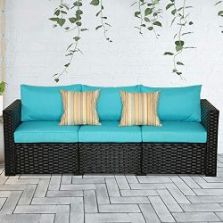 3-Seat Patio Wicker Sofa – Outdoor Rattan Couch Furniture w/Steel Frame and Turquoise Cushion